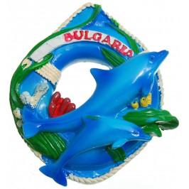 Сувенирна релефна фигурка - пояс с два делфина