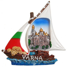 Декоративна гипсова фигурка с магнит - платноходка - Варненската катедрала