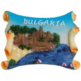 Декоративна релефна фигурка с магнит - крепост и надпис България