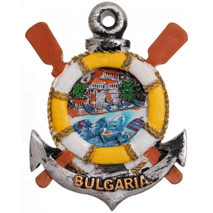 Сувенирна магнитна фигурка котва с пояс - морски пейзаж с лодки