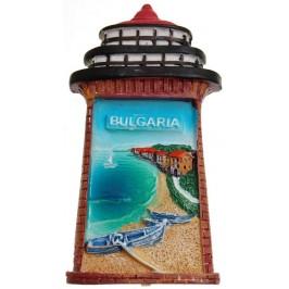 Декоративна фигурка с магнит - фар с морски бряг и надпис България