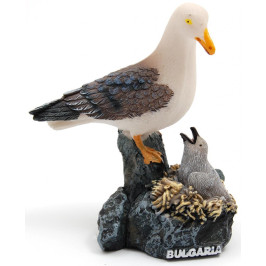 Декоративна релефна фигурка - чайка с малко