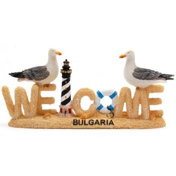 Декоративна фигурка - Добре дошли, декориано с две чайки, морски фар и пояс