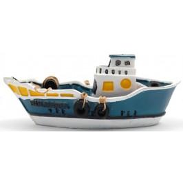 Декоративна релефна фигурка - рибарска лодка с макара и мрежа