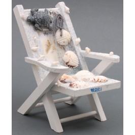 Декоративна дървена рамка за снимка във формата на плажен стол, декорирана с миди, рапани и декоративна фигурка