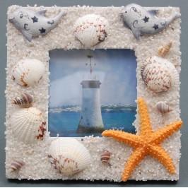 Декоративна дървена рамка за снимка декорирана с морски мотиви