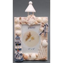 Декоративна дървена рамка за снимка - фар, декорирана с морски мотиви