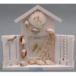 Декоративна дървена рамка за снимка във формата на къща, декорирана с морски мотиви