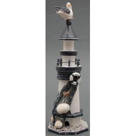 Декоративна сувенирна фигурка - морски фар, декорирана с морски мотиви