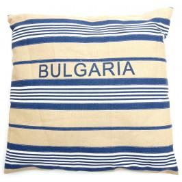 Декоративна възглавничка - раирана в синьо, бежаво и бяло