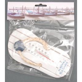 Сувенирна фигурка - джапанка за окачване с термометър, декорирана с мида