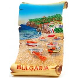 Декоративна релефна фигурка - пластинка - морски пейзаж - лодки