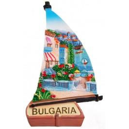 Декоративна релефна фигурка с магнит - платноходка - морски пейзаж