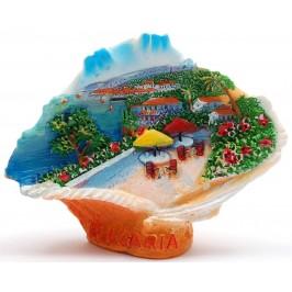 Декоративна релефна фигурка - мида - морски пейзаж