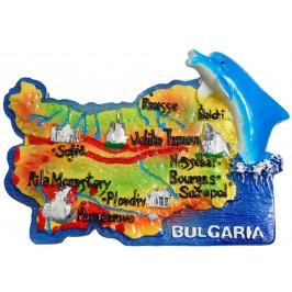 Сувенирена релефна фигурка с магнит - контури на България с делфин - забележителности от България
