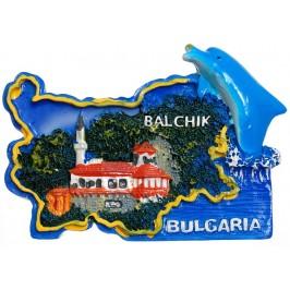 Сувенирена релефна фигурка с магнит - контури на България с делфин - двореца в Балчик