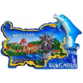 Сувенирена релефна фигурка с магнит - контури на България с делфин -Вятърната мелница в Несебър