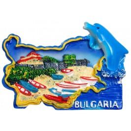 Сувенирена релефна фигурка с магнит - контури на България с делфин - Капитанска среща - Несебър