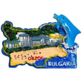 Сувенирена релефна фигурка с магнит - контури на България с делфин - Обзор