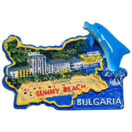 Сувенирена релефна фигурка с магнит - контури на България с делфин -Слънчев бряг