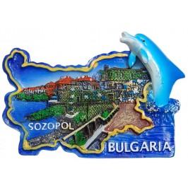 Сувенирена релефна фигурка с магнит - контури на България с делфин - Созопол