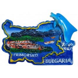Сувенирена релефна фигурка с магнит - контури на България с делфин - Приморско