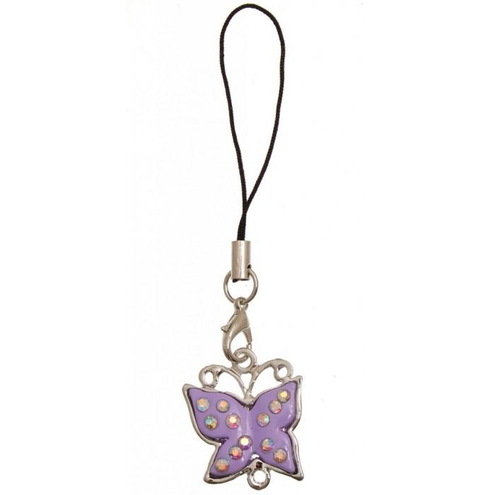 Аксесоар за GSM - пеперуда, декорирана с цветни камъни