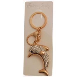 Сувенирен метален ключодържател - делфин, инкрустиран с камъни