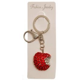 Сувенирен метален ключодържател - ябълка, инкрустирана с бели и червени камъни