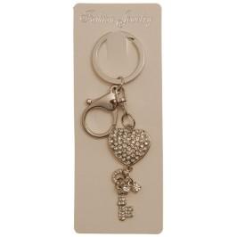 Сувенирен метален ключодържател - сърце и ключ, инкрустирани с бели камъни