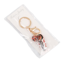 Сувенирен метален ключодържател - бутонка и топка, инкрустирани с цветни камъни