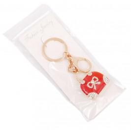 Сувенирен метален ключодържател - дамска чанта, инкрустирана с бели и цветни камъни