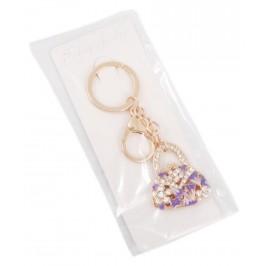 Сувенирен метален ключодържател - дамска чанта ъс седефени триъгълници, инкрустирана с бели камъни