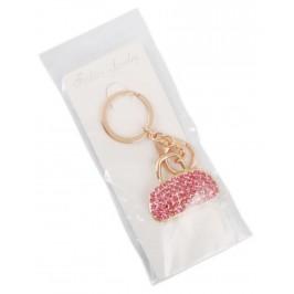 Сувенирен метален ключодържател - дамска чанта, инкрустирана с цветни камъни