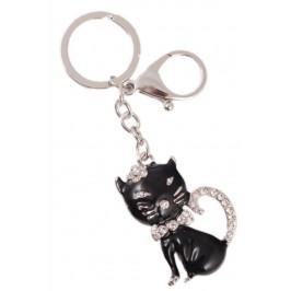 Сувенирен метален ключодържател - черна котка, инкрустирана с бели камъни