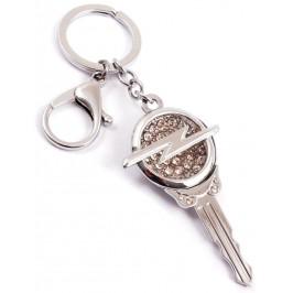 Ключодържател във формата на ключ с емблема на OPEL, декориран с бели камъни