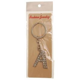 Сувенирен метален ключодържател - буква А с декоративни камъчета
