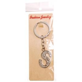 Сувенирен метален ключодържател - буква S с декоративни камъчета