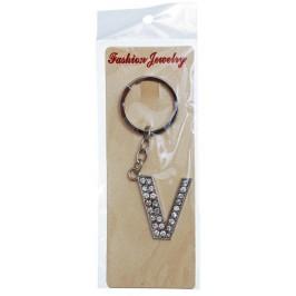 Сувенирен метален ключодържател - буква V с декоративни камъчета