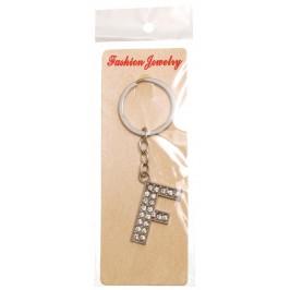 Сувенирен метален ключодържател - буква F с декоративни камъчета