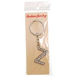 Сувенирен метален ключодържател - буква Z с декоративни камъчета