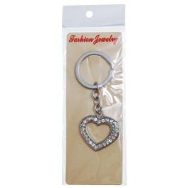 Сувенирен метален ключодържател - сърце, декорирано с бели камъни