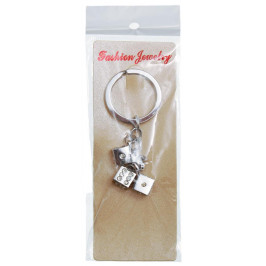 Сувенирен метален ключодържател - три зарчета, декорирани с бели камъни