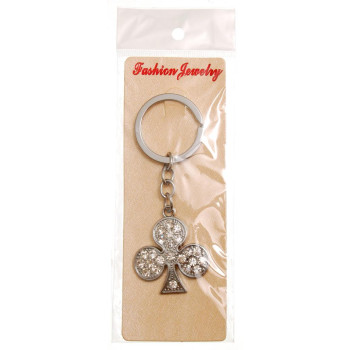 Сувенирен метален ключодържател - символ, декориран с бели камъни