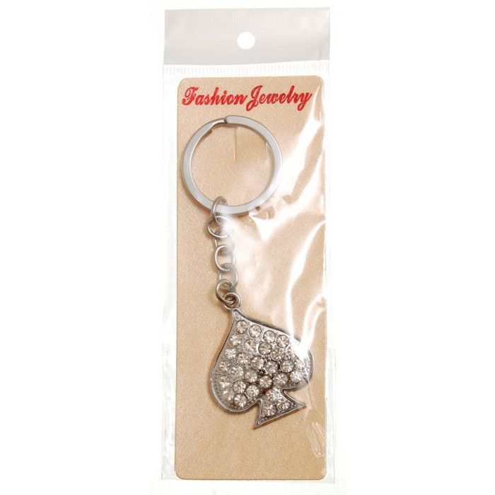Сувенирен метален ключодържател - символ - карти, декориран с бели камъни