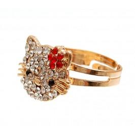 Метален пръстен с коте, декорирана с цветни камъни