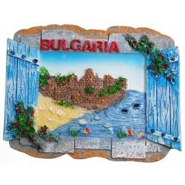 Декоративна фигурка с магнит - прозорец - море и надпис България