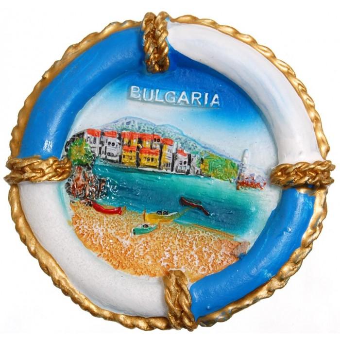 Сувенирна фигурка с магнит - спасителен пояс с морски пейзаж