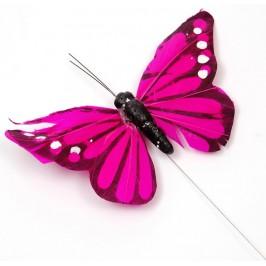 Декоративна фигурка пеперуда с магнит на метален постамент, изработена от естествени материали