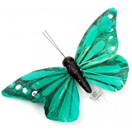 Декоративна фигурка пеперуда с PVC щипка, изработена от естествени материали